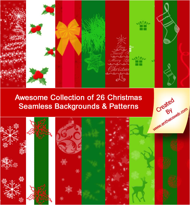 Awesome Collection Of 26 Free Christmas Seamless Backgrounds