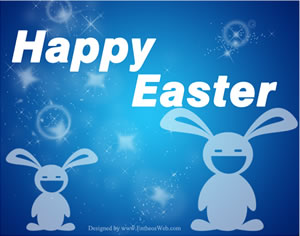 free easter bunny blue background image