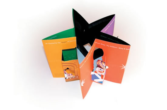 Brochure design tips insights ideas inspiration features pop up cutouts of familiar christmas characters and images in a colorful background the brochure folds into a five pointed star shape and the pronofoot35fo Choice Image