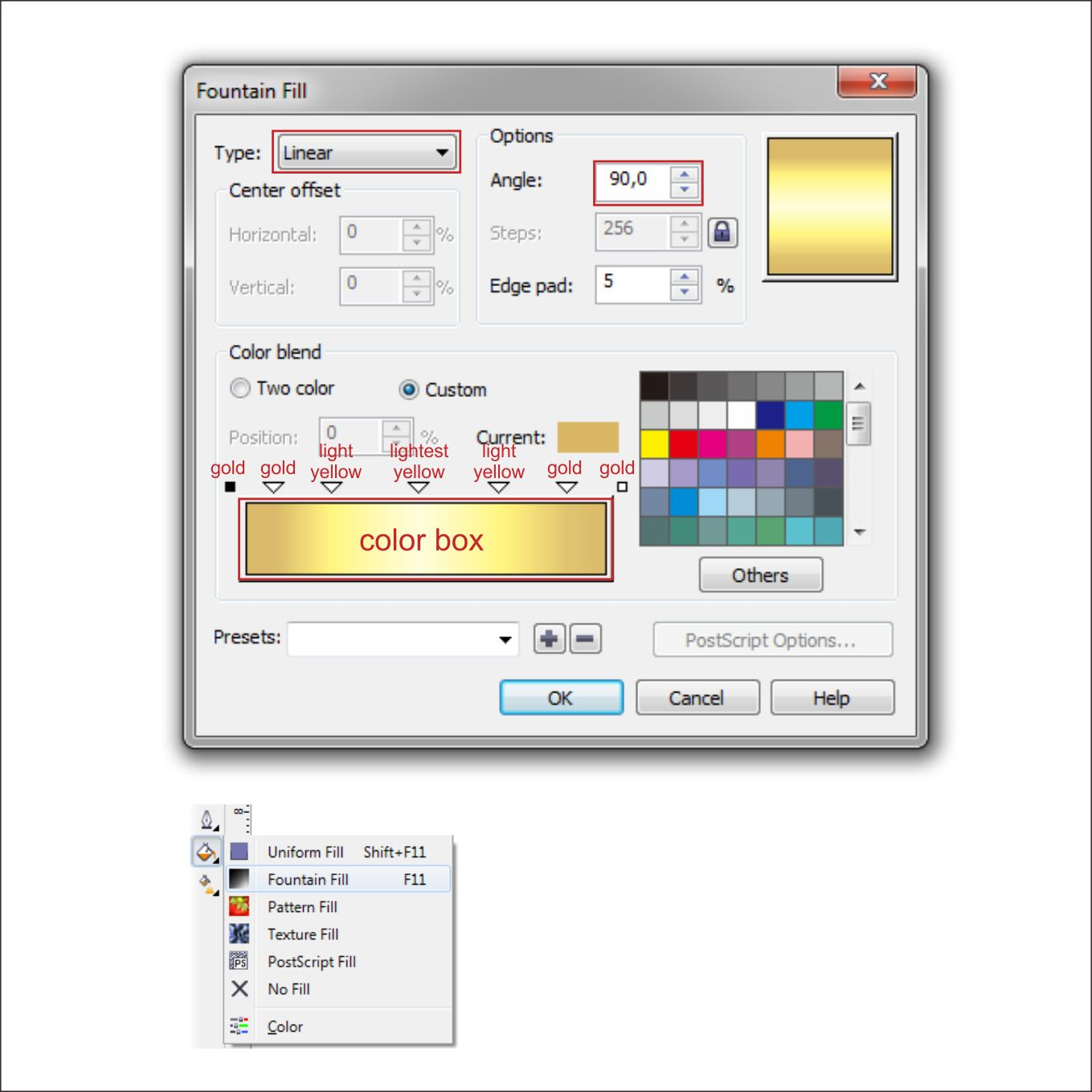 Line color in coreldraw - Now Lets Put Color In It Go To The Fountain Fill Tool And Set The Value The Same As The Golden Second Circle
