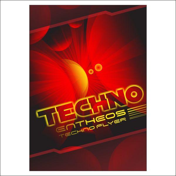 techno flyer design