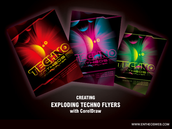 techno flyer design in corel draw