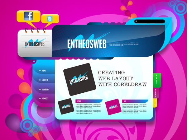 Website Layout Design in Corel Draw