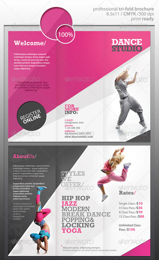 Creative tri fold brochure design templates for Music brochure templates